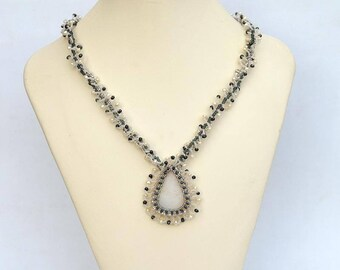 Chalcedony druze necklace Elegant white and grey necklace with chalcedony mineral and real pearls First frost necklace N414