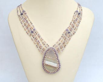 Pastel pink necklace with fluorite and pearls Gemstone beadwork necklace in pink and lavender Multistrand necklace with fluorite PN198