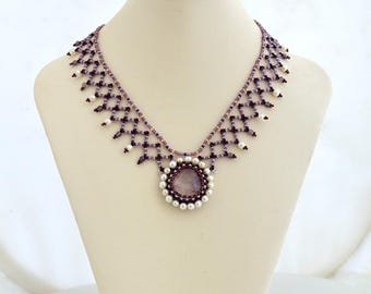 Amethyst mist necklace Beadwork necklace with pale lavender amethyst and real pearls Lavender necklace with natural amethyst N327