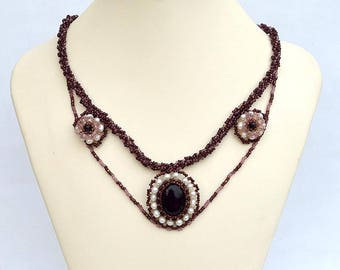 Romantic necklace with amethyst Classic style necklace with real amethyst Amethyst necklace with elegant beadwork Gemstone jewelry N425