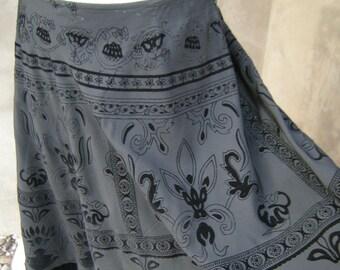 Vintage Black  Skirt With Velvet Designs