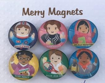 "Set of Glass Fridge Magnets  Kid-Friendly ""Famous Female Role Models"""