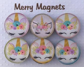 "Set of Glass Fridge Magnets  ""Unicorns"""