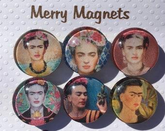 "Set of Glass Fridge Magnets  ""Frida Kahlo"""
