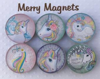 "Set of Glass Fridge Magnets  ""Whimsical Unicorns"""