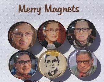 "Set of Glass Fridge Magnets  ""Ruth Bader Ginsburg"""