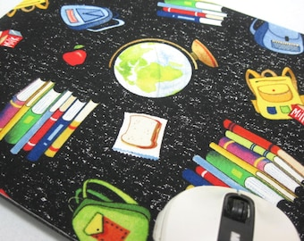 Mouse Pad, Computer Mouse Pad, Fabric Mousepad    School Days - Books and Bags