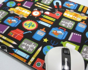 Mouse Pad, Computer Mouse Pad, Fabric Mousepad    School Supplies on Black