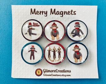 """Set of Glass Fridge Magnets  """"Sock Monkeys"""""""