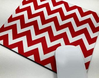 Mouse Pad, MousePad, Fabric MousePad   Red & White Chevron