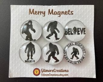 "Set of Glass Fridge Magnets  ""Believe in Bigfoot"""