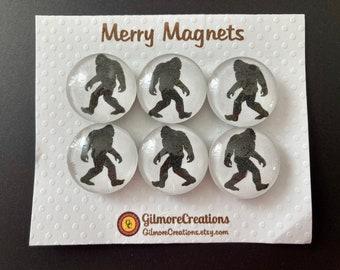 """Set of Glass Fridge Magnets  """"Bigfoot"""""""