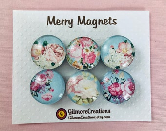 """Set of Glass Fridge Magnets  """"Pink Peonies in Turquoise"""""""
