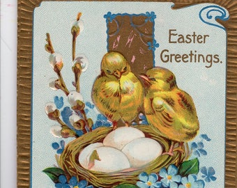 Happy Easter  Vintage Postcard  Chicks with nest - Embossed, Gold Cross, Easter Greetings