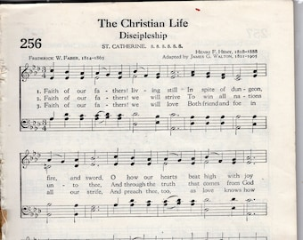 Sheet Music Pages LOT For Crafting 50 Sheets from Old Hymnal 9 x 6