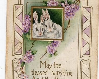 Vintage Easter Postcard White bunny rabbits, purple flowers, verse