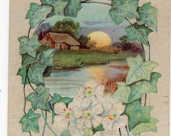 Easter vintage postcard, Vintage Easter Postcard Cottage on water, pretty flowers & ivy, Easter paper ephemera, antique Easter postcard
