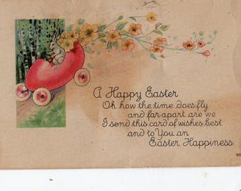 Vintage postcard easter greetings child bunny rabbit on etsy easter vintage postcard easter bunny rabbit driving egg car m4hsunfo