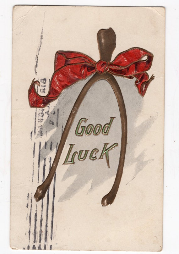 1907 Good Luck and Wish Bone Postcard  Antique Postcards  Used