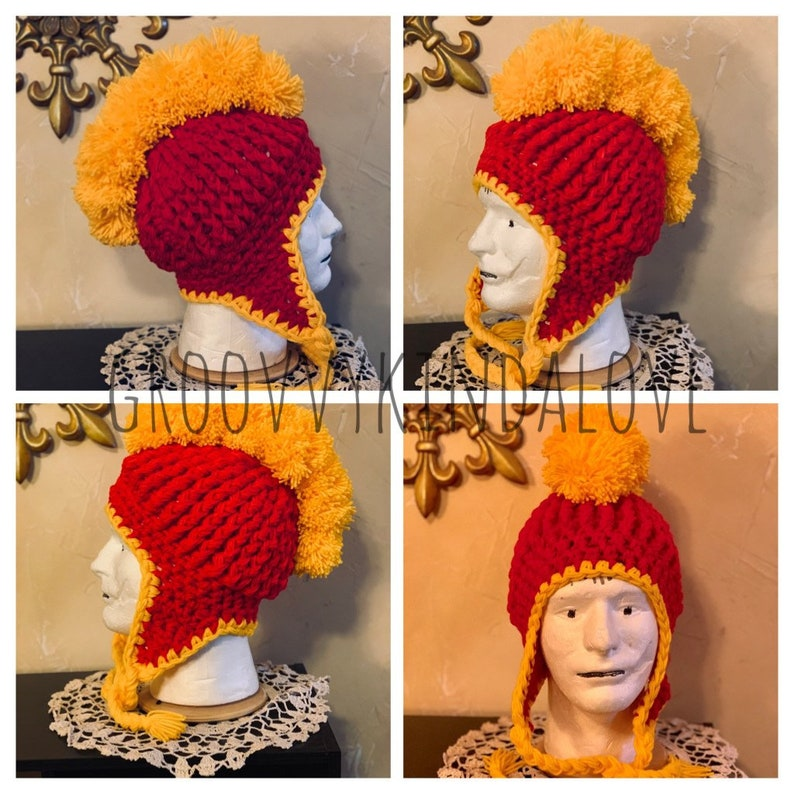 Kansas City Chiefs inspired Pompom Mohawk Earflap Hat ribbed  2047c47236f8