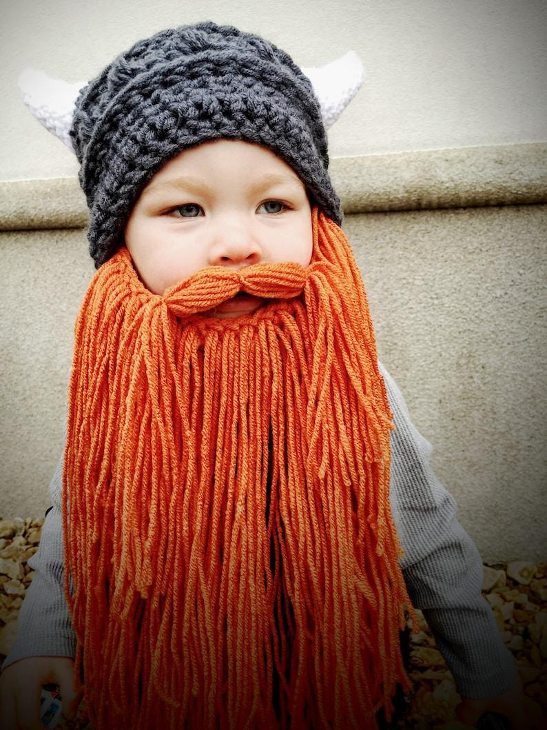4d489f2de3e Viking Hat with Horns and Beard Hand Crocheted Valhalla horns