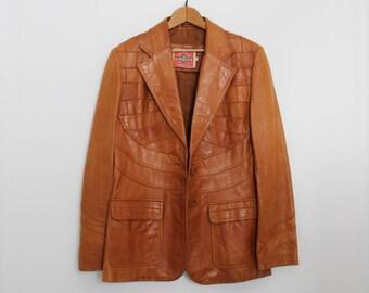 1970s Vintage Leather Patchwork Jacket / MS. PIONEER Leather Jacket / Large Front Pockets / Hippy Boho Leather Jacket / Leather Blazer
