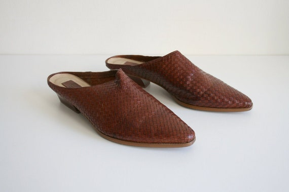 11 | Vintage Woven Mules | Brown Leather Wooden He