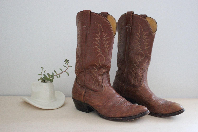 c43b893d268 Vintage Nocona Boots with Biltrite Neoprene soles / Brown Leather Cowboy  Boots / Mens Size 9.5 D / 1970s