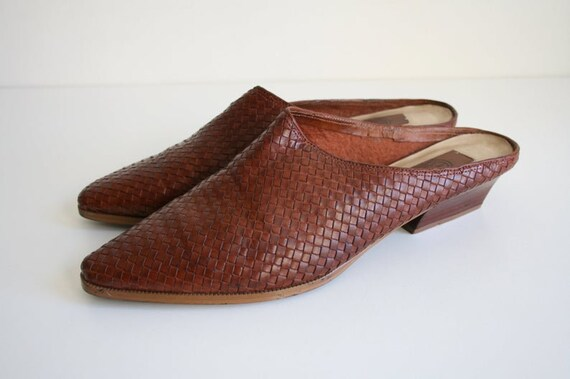 11 | Vintage Woven Mules | Brown Leather Wooden H… - image 4