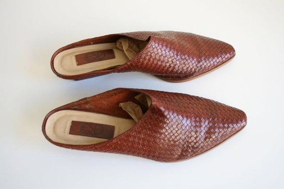 11 | Vintage Woven Mules | Brown Leather Wooden H… - image 6