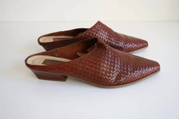 11 | Vintage Woven Mules | Brown Leather Wooden H… - image 7