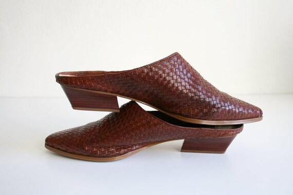 11 | Vintage Woven Mules | Brown Leather Wooden H… - image 1