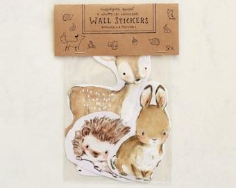 Woodland art, forest nursery, Woodland Friends (set A), Wall Stickers, Set of 3