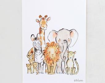 Safari nursery art, elephant wall art, Wild Safari, Giclée Print, Kit Chase artwork, 5x7, 8x10, 11x14