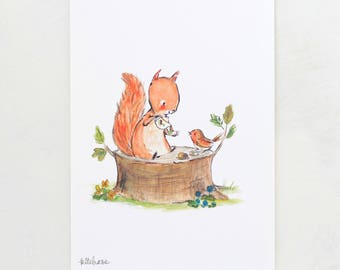 Woodland nursery Art, forest art, Squirrel Tea, giclée print, Kit Chase artwork, 5x7, 8x10, 11x14