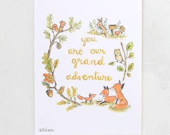 Fox art, nursery decor, forest nursery, Grand Adventure Fox, Giclée Print, Kit Chase artwork, 5x7, 8x10, 11x14