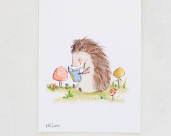 Forest nursery art, woodland art, Bookish Hedgehog, Giclée Print, Kit Chase artwork