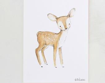 Forest nursery art, woodland decor, Fawn, giclée print, Kit Chase artwork, 5x7, 8x10, 11x14