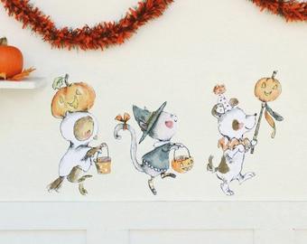 Halloween art, woodland nursery, Trick or Treat, Wall Decal