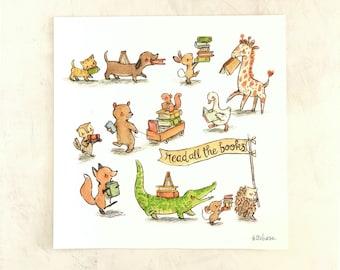 Woodland nursery art, book art, Read All the Books, Giclée print, 8x8, 11x11