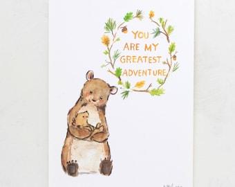Woodland Nursery Art -- My Greatest Adventure Bear -- Giclée Print