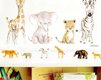 Jungle nursery art, children's room decor, Safari Friends, wall decal, Kit Chase artwork, reusable