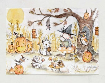 Halloween Art, Halloween decor, The Witching Hour, giclée print, Kit Chase artwork, 5x7, 8x10, 11x14