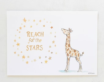 Jungle nursery, giraffe art, Reach for the Stars Giraffe, giclée print, Kit Chase artwork, 5x7, 8x10, 11x14