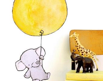 Elephant art, jungle nursery decor, Elephant Balloon, wall decal, Kit Chase artwork