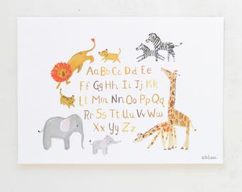 Jungle Nursery Art--Jungle Alphabet--Giclée Print