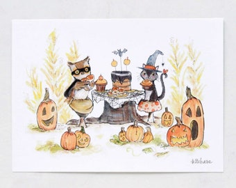 Halloween Art, Halloween decor, Halloween Party, giclée print, Kit Chase artwork, 5x7, 8x10, 11x14