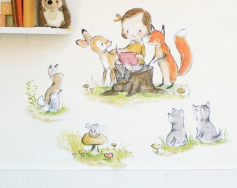 Girls nursery art, woodland nursery, Woodland Story Girl, wall decal, Kit Chase artwork
