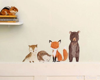 Forest Nursery Art,  Woodland Friends, Kit Chase artwork, fabric wall decal,  removable and reusable