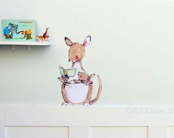 Nursery art, children's nursery, Kangaroo Read, wall decal, Kit Chase artwork, reusable